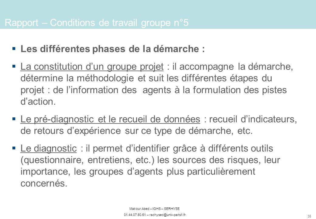 35 Makour Abed – IGHS – SERHYSE 01.44.07.80.51 – rachysec@univ-paris1.fr Rapport – Conditions de travail groupe n°5 Les différentes phases de la démar
