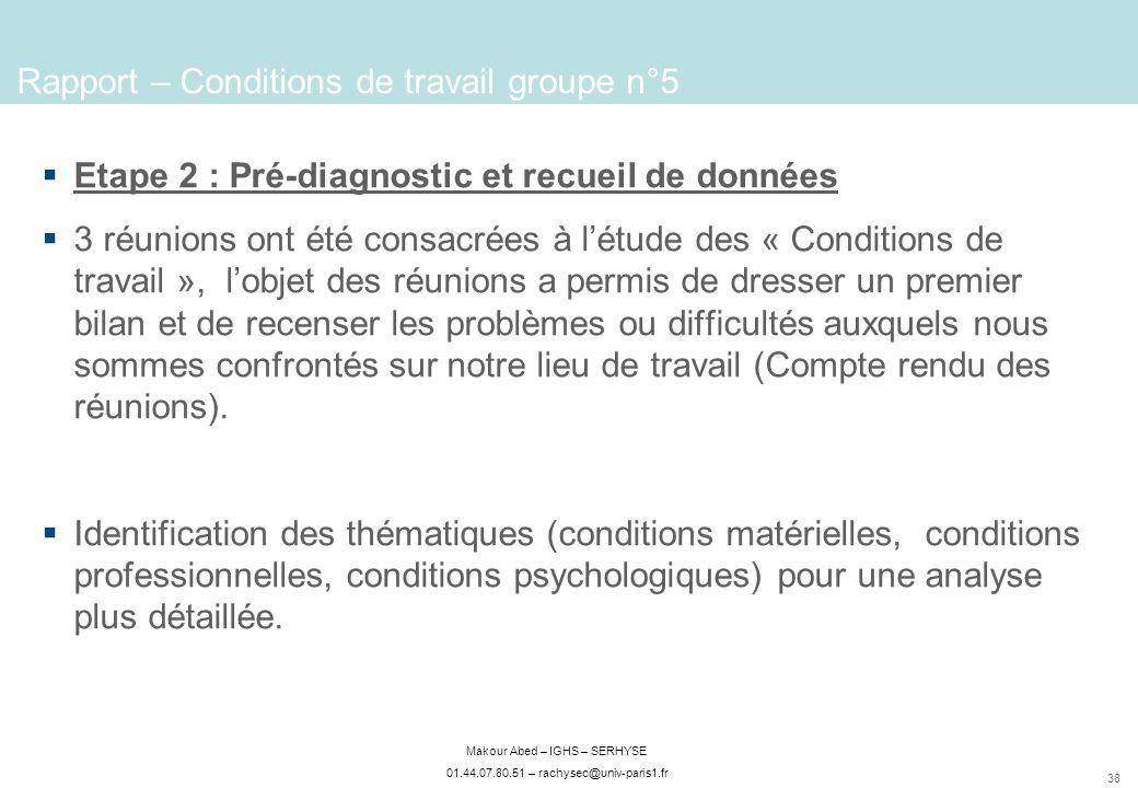 38 Makour Abed – IGHS – SERHYSE 01.44.07.80.51 – rachysec@univ-paris1.fr Etape 2 : Pré-diagnostic et recueil de données 3 réunions ont été consacrées