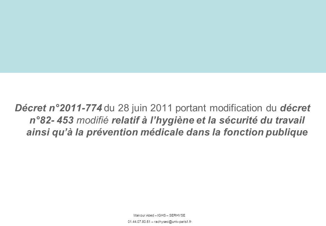 Makour Abed – IGHS – SERHYSE 01.44.07.80.51 – rachysec@univ-paris1.fr Décret n°2011-774 du 28 juin 2011 portant modification du décret n°82- 453 modif