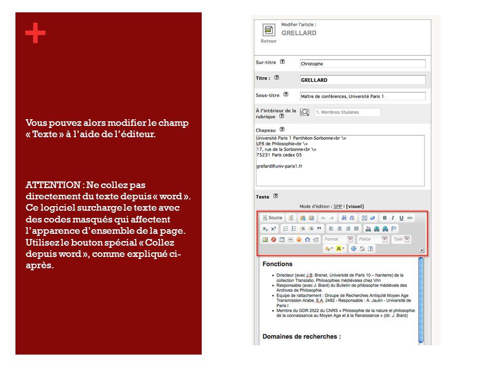 + Vous pouvez alors modifier le champ « Texte » à laide de léditeur.
