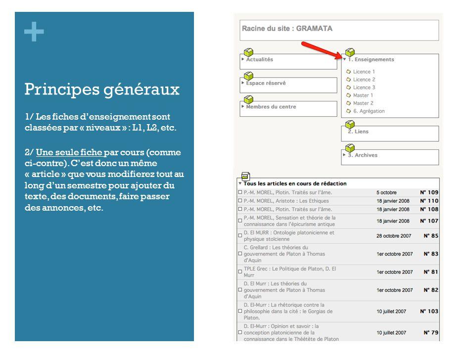 + Principes généraux 1/ Les fiches denseignement sont classées par « niveaux » : L1, L2, etc.