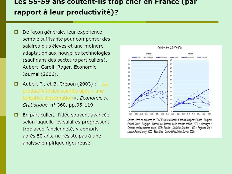 Les 55-59 ans coûtent-ils trop cher en France (par rapport à leur productivité)? De façon générale, leur expérience semble suffisante pour compenser d
