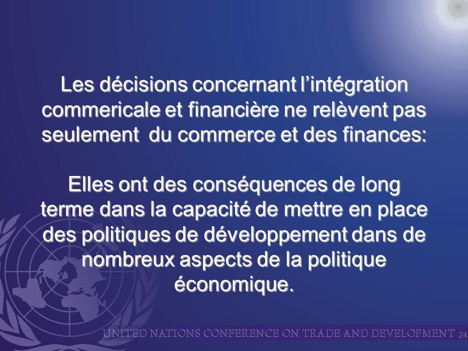 24 Les décisions concernant lintégration commericale et financière ne relèvent pas seulement du commerce et des finances: Elles ont des conséquences de long terme dans la capacité de mettre en place des politiques de développement dans de nombreux aspects de la politique économique.