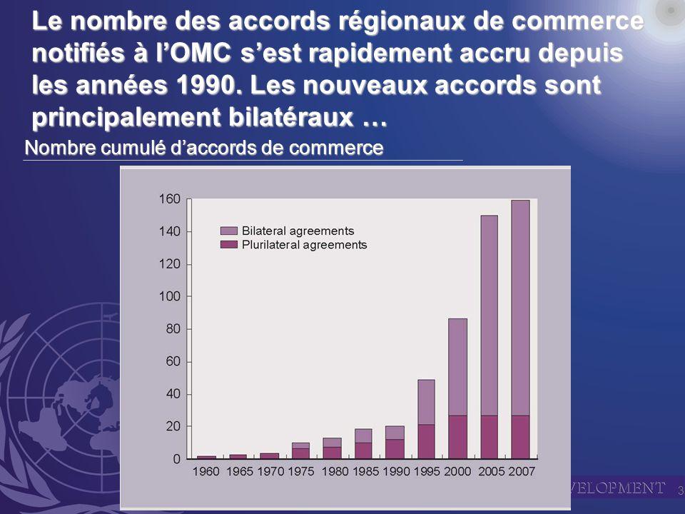 3 Le nombre des accords régionaux de commerce notifiés à lOMC sest rapidement accru depuis les années 1990.