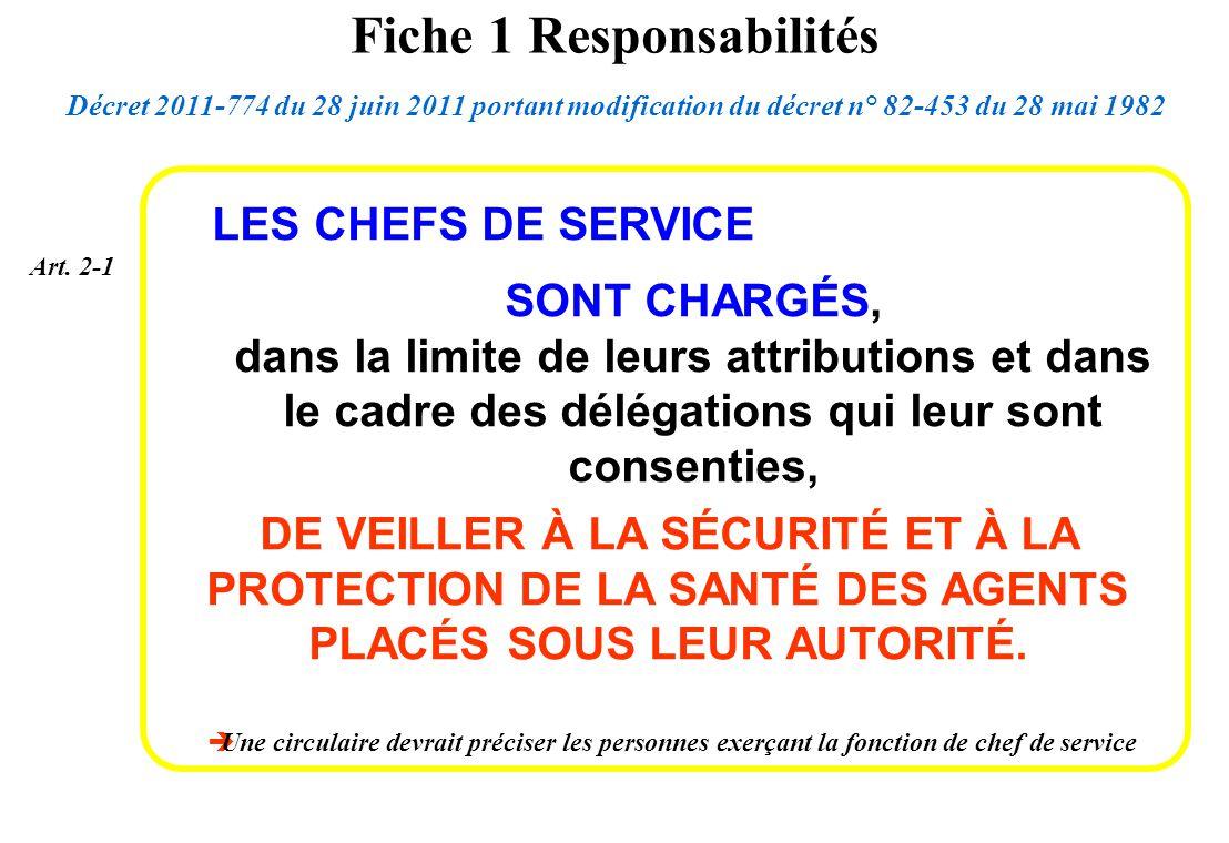 LES CHEFS DE SERVICE SONT CHARGÉS, dans la limite de leurs attributions et dans le cadre des délégations qui leur sont consenties, DE VEILLER À LA SÉC