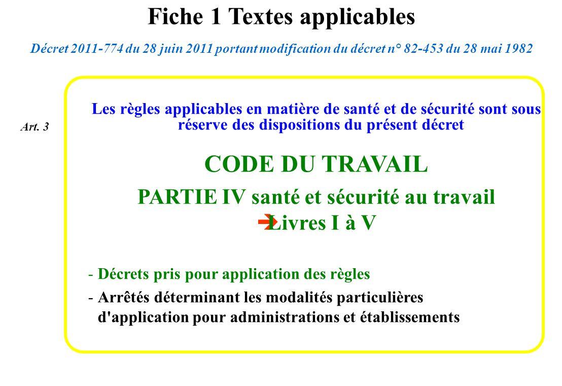 Les règles applicables en matière de santé et de sécurité sont sous réserve des dispositions du présent décret CODE DU TRAVAIL PARTIE IV santé et sécu