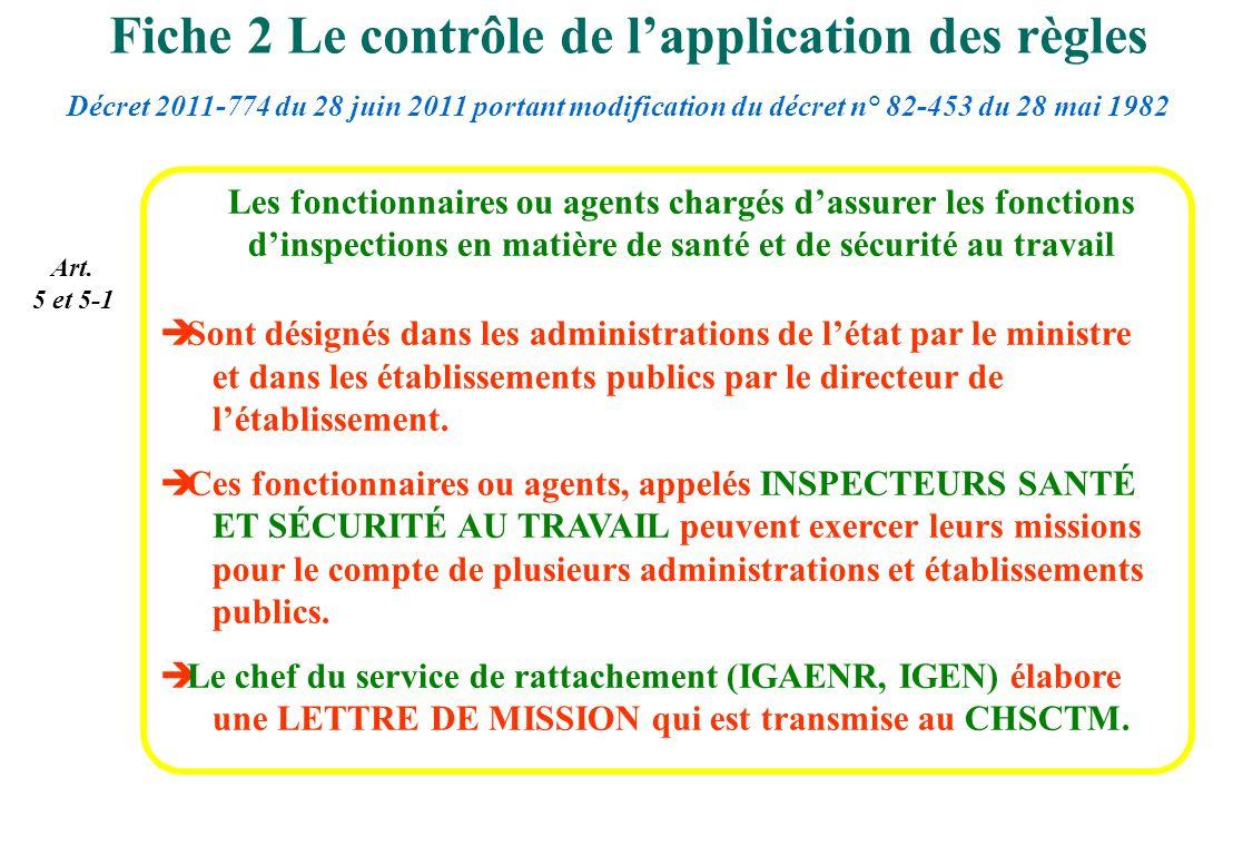 Art. 5 et 5-1 Les fonctionnaires ou agents chargés dassurer les fonctions dinspections en matière de santé et de sécurité au travail Sont désignés dan