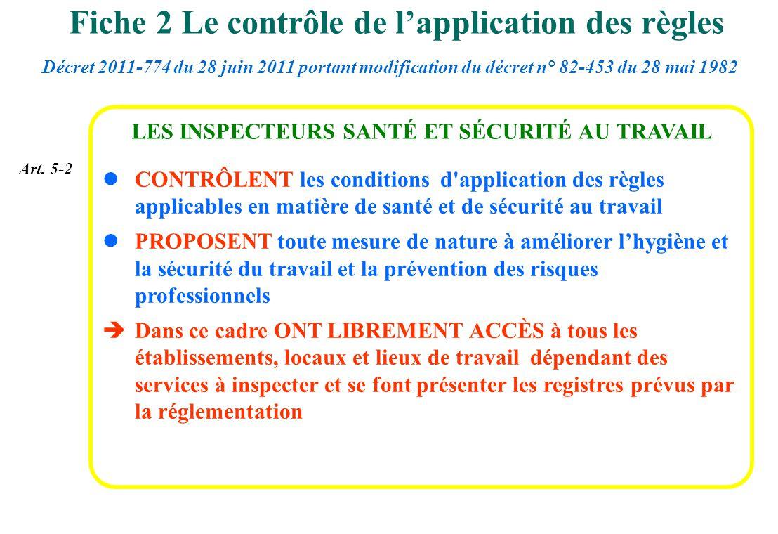lCONTRÔLENT les conditions d'application des règles applicables en matière de santé et de sécurité au travail lPROPOSENT toute mesure de nature à amél