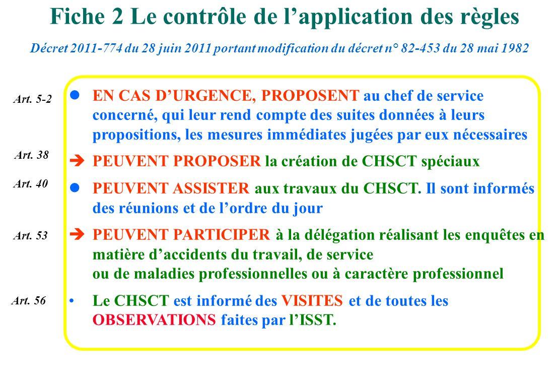Art. 5-2 Art. 38 Art. 40 Art. 53 lEN CAS DURGENCE, PROPOSENT au chef de service concerné, qui leur rend compte des suites données à leurs propositions