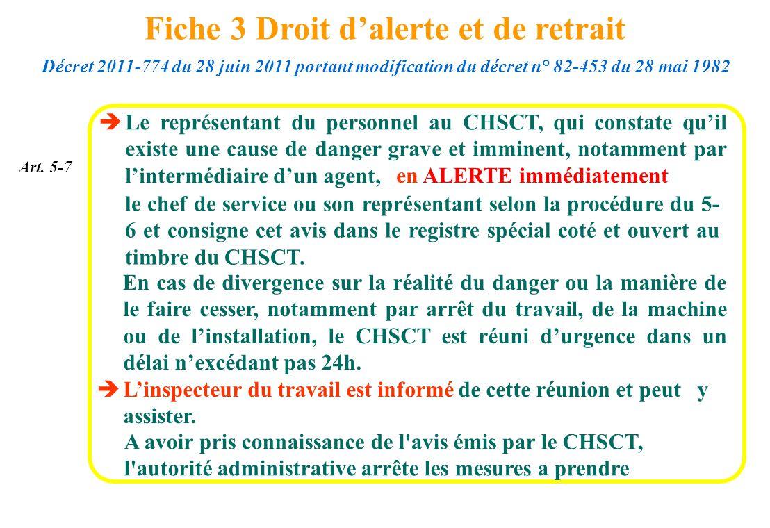Le représentant du personnel au CHSCT, qui constate quil existe une cause de danger grave et imminent, notamment par lintermédiaire dun agent, A avoir