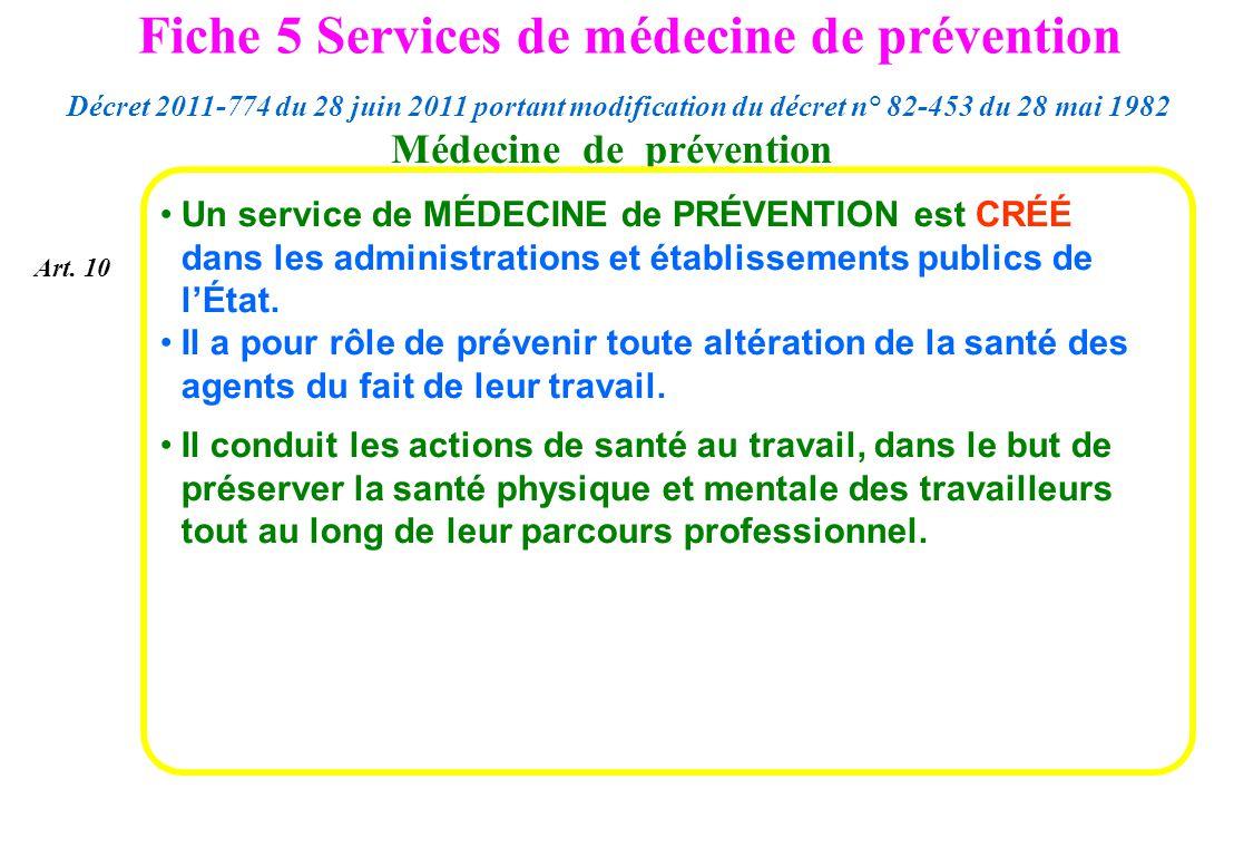Médecine de prévention Un service de MÉDECINE de PRÉVENTION est CRÉÉ dans les administrations et établissements publics de lÉtat. Il a pour rôle de pr