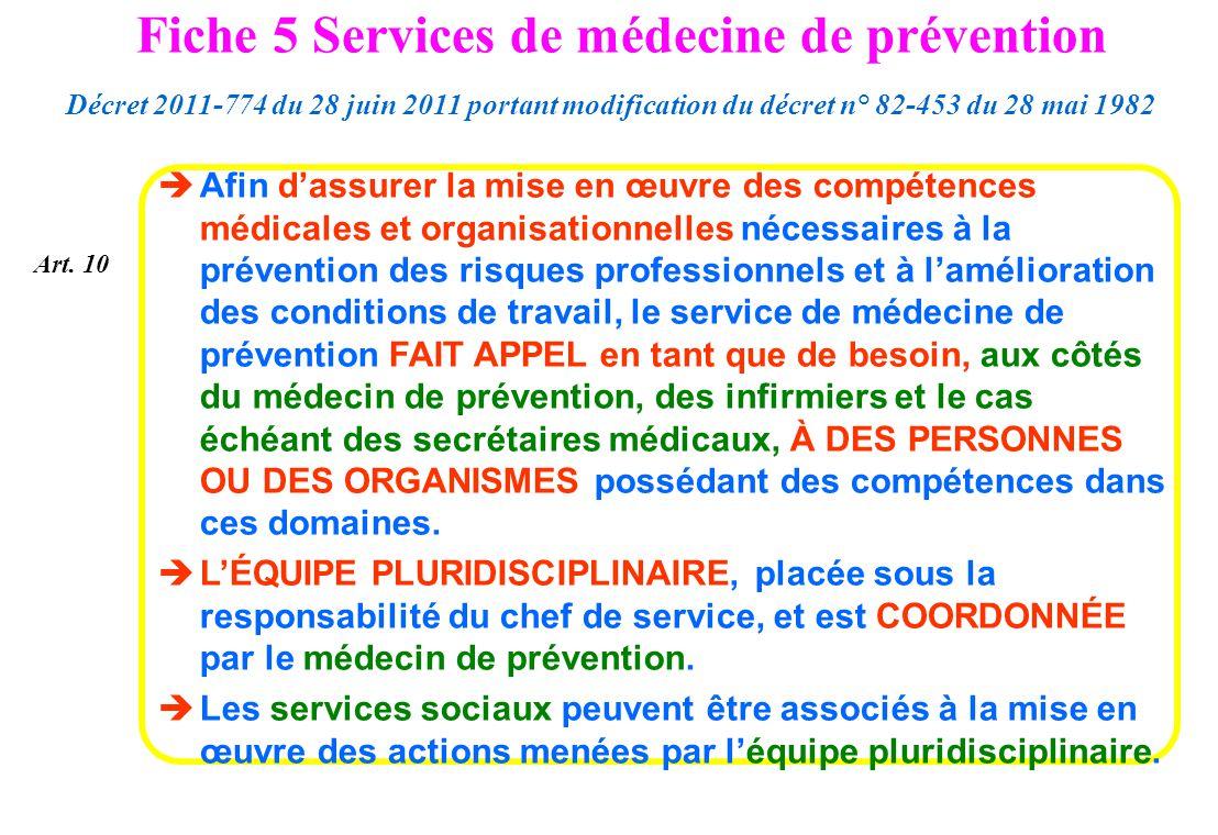 Art. 10 Afin dassurer la mise en œuvre des compétences médicales et organisationnelles nécessaires à la prévention des risques professionnels et à lam