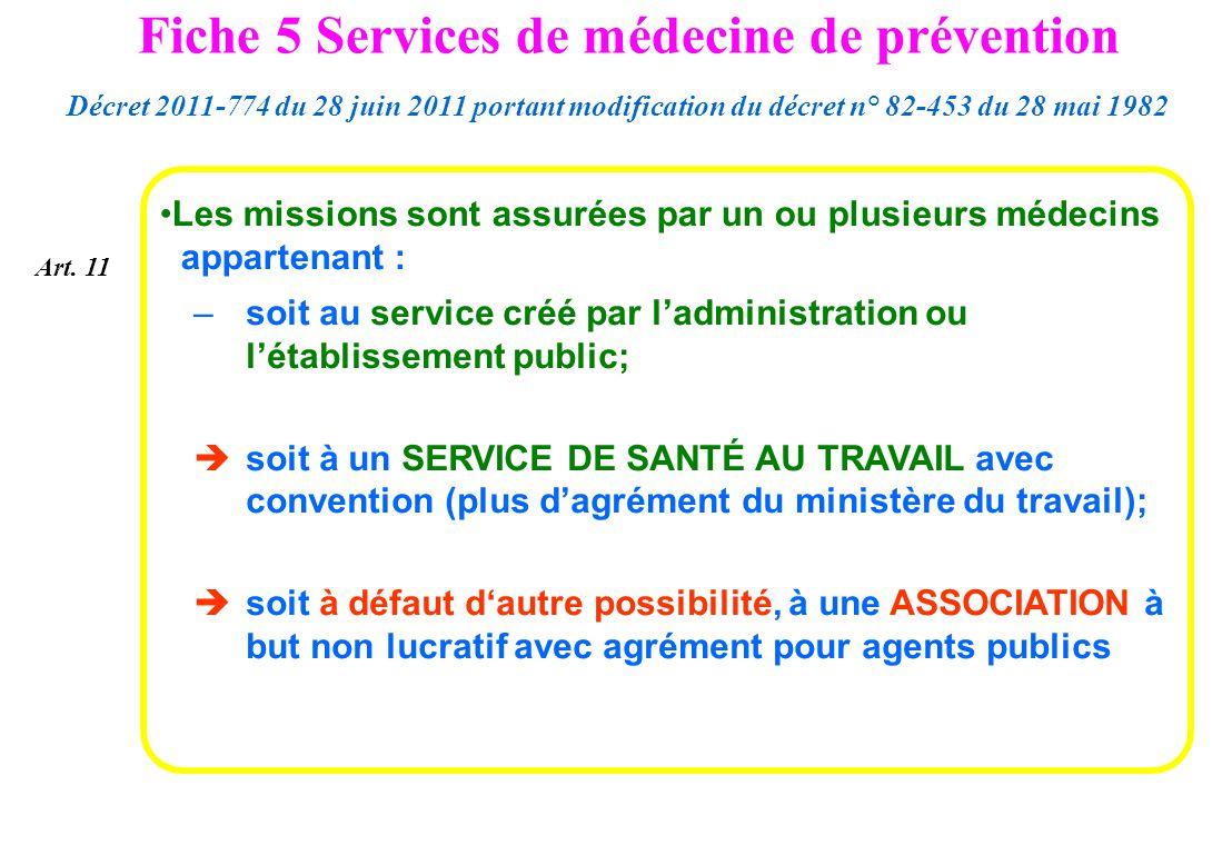 Les missions sont assurées par un ou plusieurs médecins appartenant : –soit au service créé par ladministration ou létablissement public; soit à un SE
