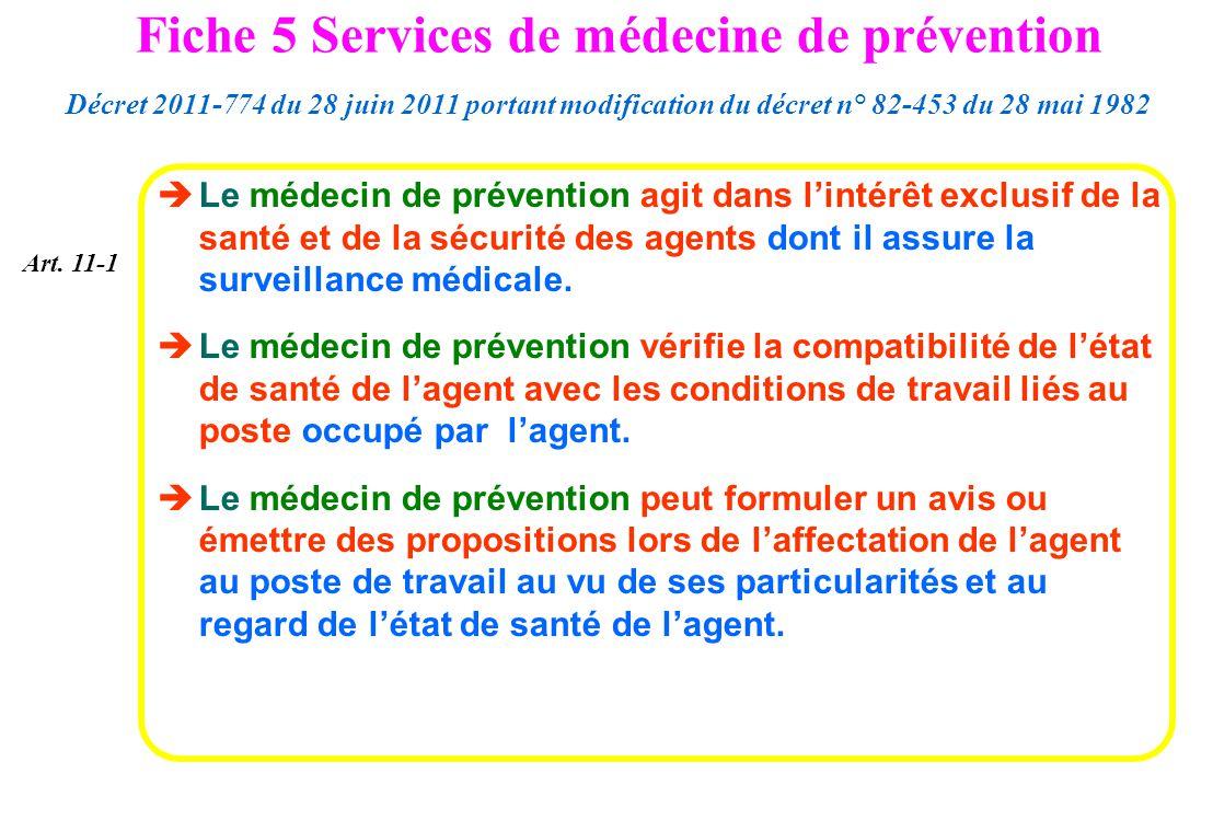 Le médecin de prévention agit dans lintérêt exclusif de la santé et de la sécurité des agents dont il assure la surveillance médicale. Le médecin de p