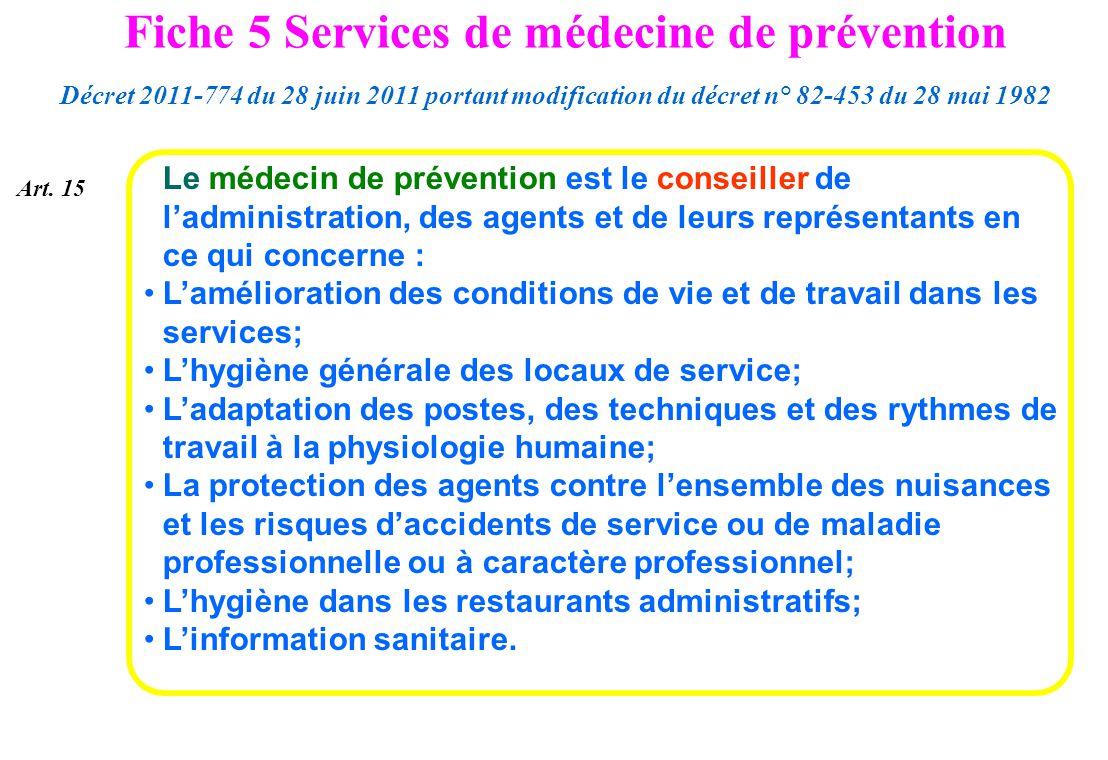 Le médecin de prévention est le conseiller de ladministration, des agents et de leurs représentants en ce qui concerne : Lamélioration des conditions