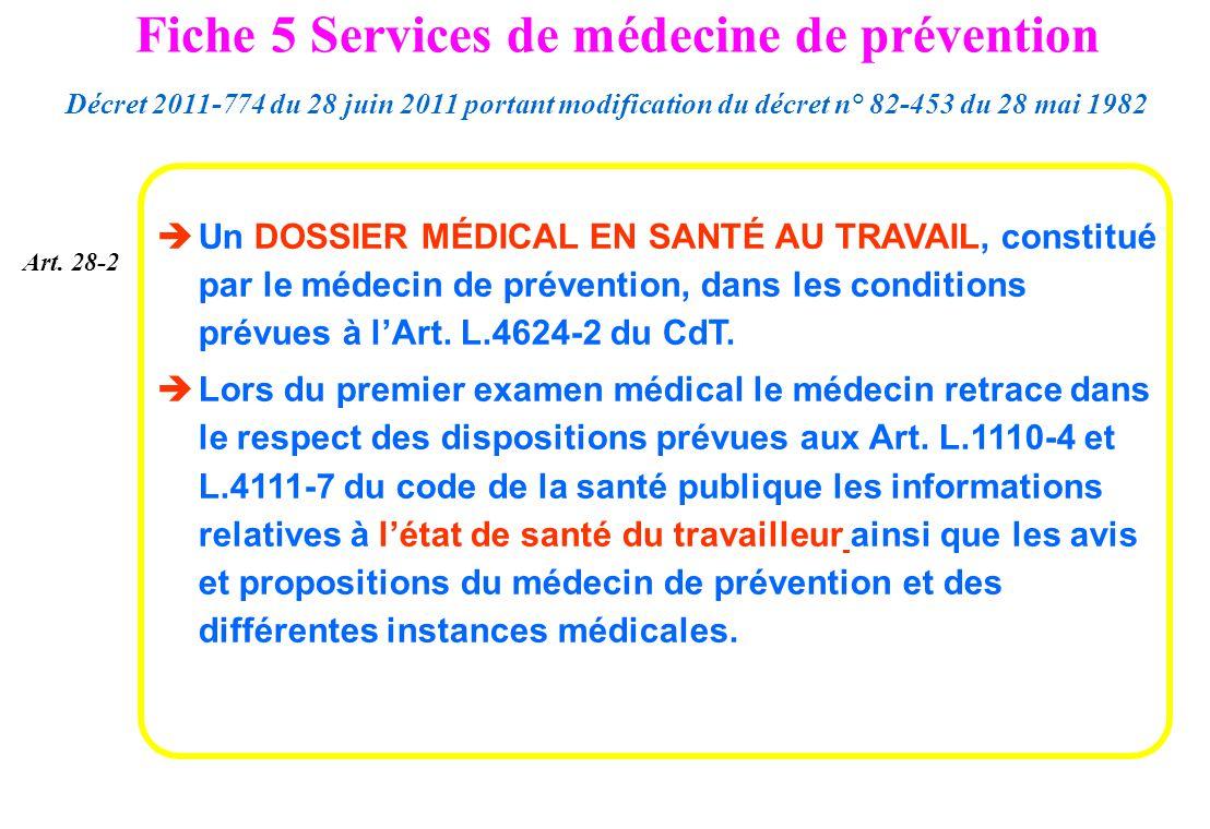 Un DOSSIER MÉDICAL EN SANTÉ AU TRAVAIL, constitué par le médecin de prévention, dans les conditions prévues à lArt. L.4624-2 du CdT. Lors du premier e