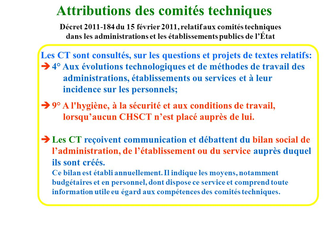 Décret 2011-184 du 15 février 2011, relatif aux comités techniques dans les administrations et les établissements publics de lÉtat Les CT sont consult
