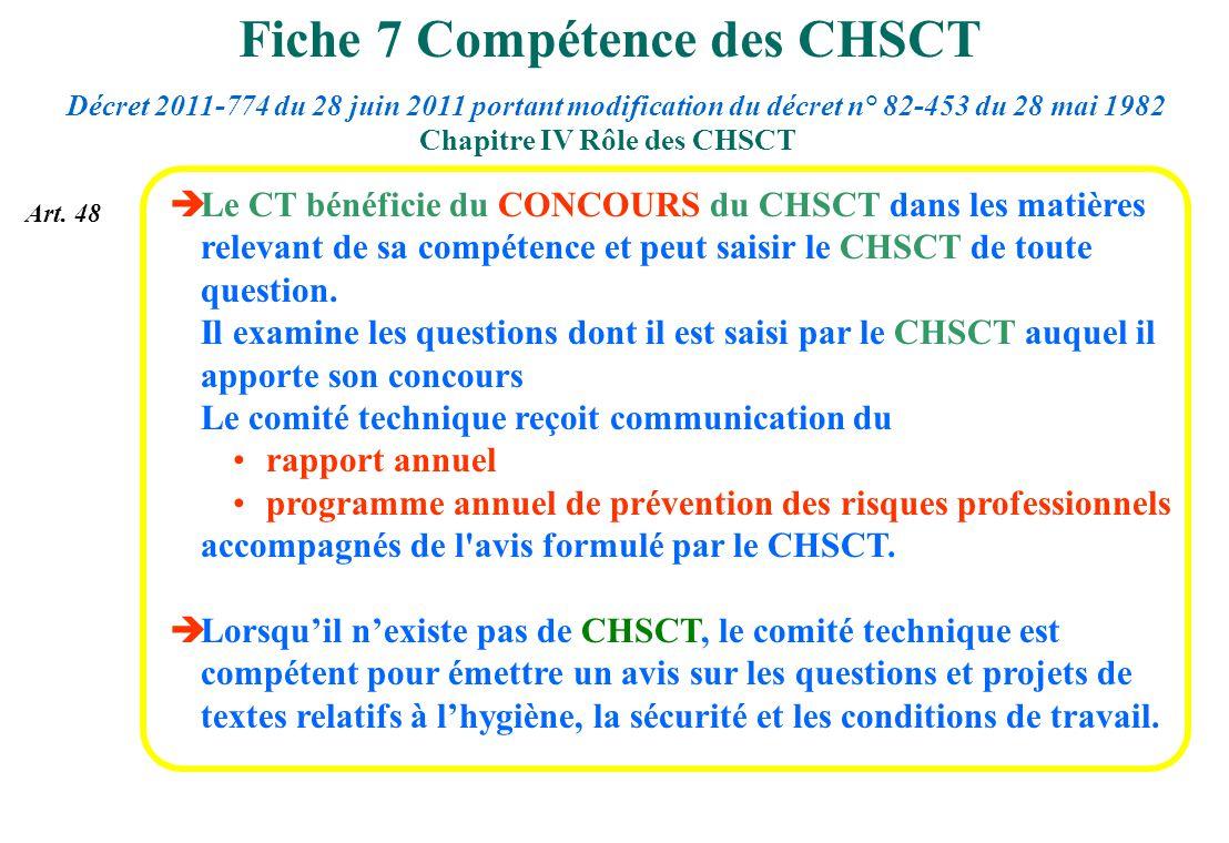 Le CT bénéficie du CONCOURS du CHSCT dans les matières relevant de sa compétence et peut saisir le CHSCT de toute question. Il examine les questions d