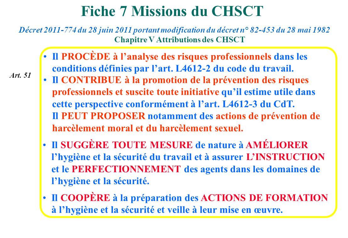 Fiche 7 Missions du CHSCT Il COOPÈRE à la préparation des ACTIONS DE FORMATION à lhygiène et la sécurité et veille à leur mise en œuvre. Il SUGGÈRE TO