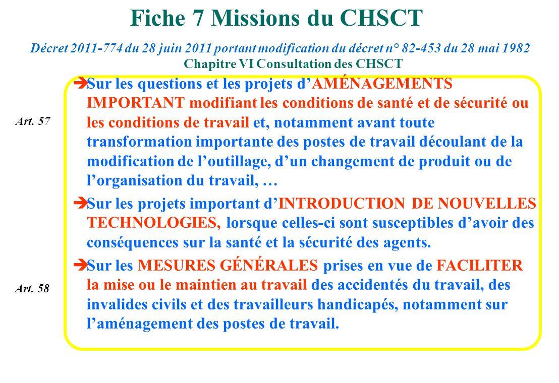 Art. 57 Art. 58 Sur les questions et les projets dAMÉNAGEMENTS IMPORTANT modifiant les conditions de santé et de sécurité ou les conditions de travail