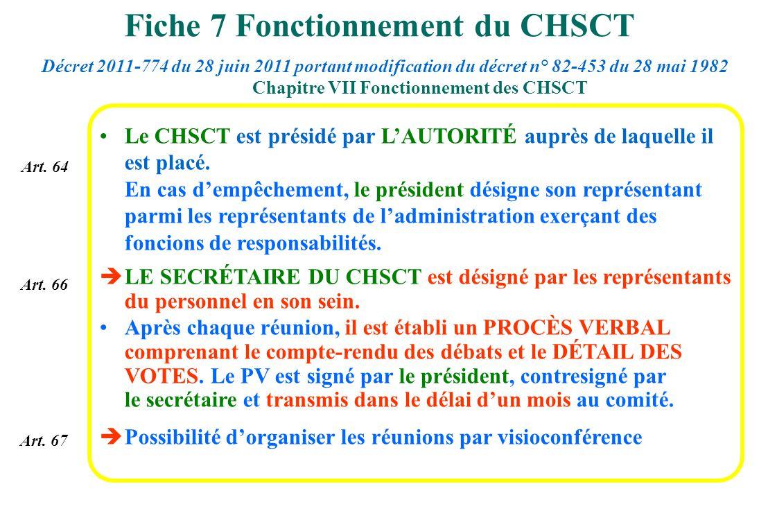 Le CHSCT est présidé par LAUTORITÉ auprès de laquelle il est placé. En cas dempêchement, le président désigne son représentant parmi les représentants