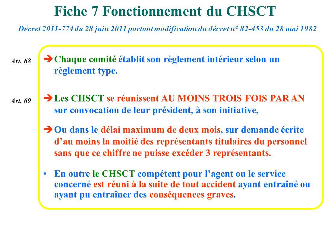 Chaque comité établit son règlement intérieur selon un règlement type. Les CHSCT se réunissent AU MOINS TROIS FOIS PAR AN sur convocation de leur prés