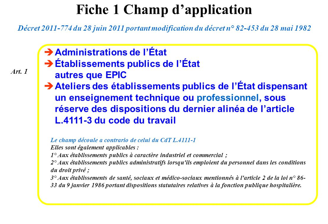 Administrations de lÉtat Établissements publics de lÉtat autres que EPIC Ateliers des établissements publics de lÉtat dispensant un enseignement techn