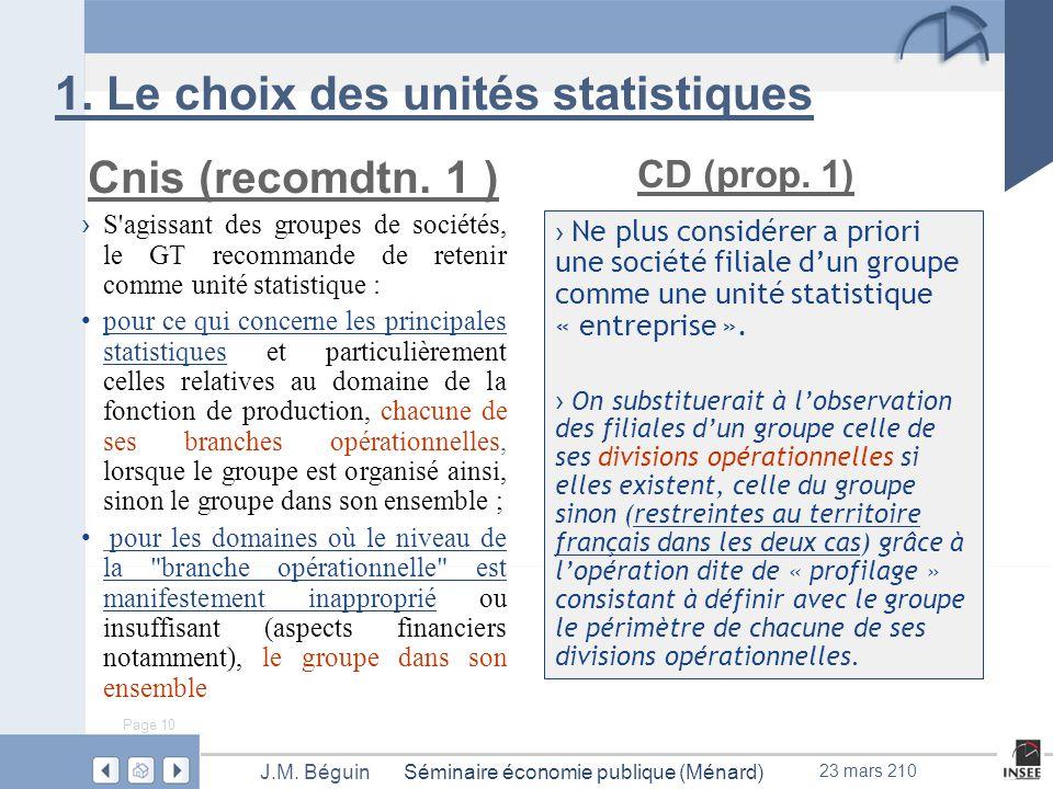 Page 10 Séminaire économie publique (Ménard)J.M. Béguin 23 mars 210 1.
