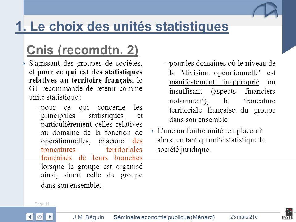 Page 11 Séminaire économie publique (Ménard)J.M. Béguin 23 mars 210 1.