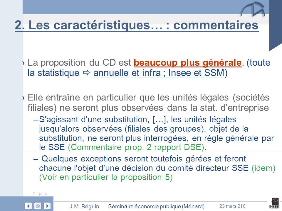 Page 14 Séminaire économie publique (Ménard)J.M. Béguin 23 mars 210 2.