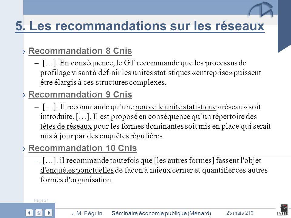 Page 21 Séminaire économie publique (Ménard)J.M. Béguin 23 mars 210 5.