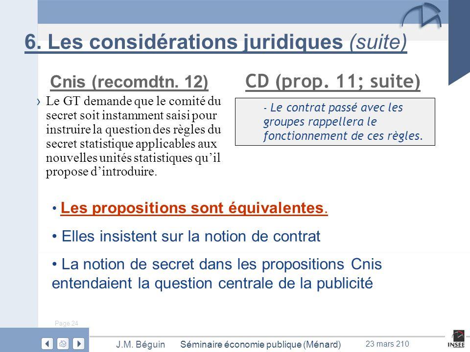 Page 24 Séminaire économie publique (Ménard)J.M. Béguin 23 mars 210 6.