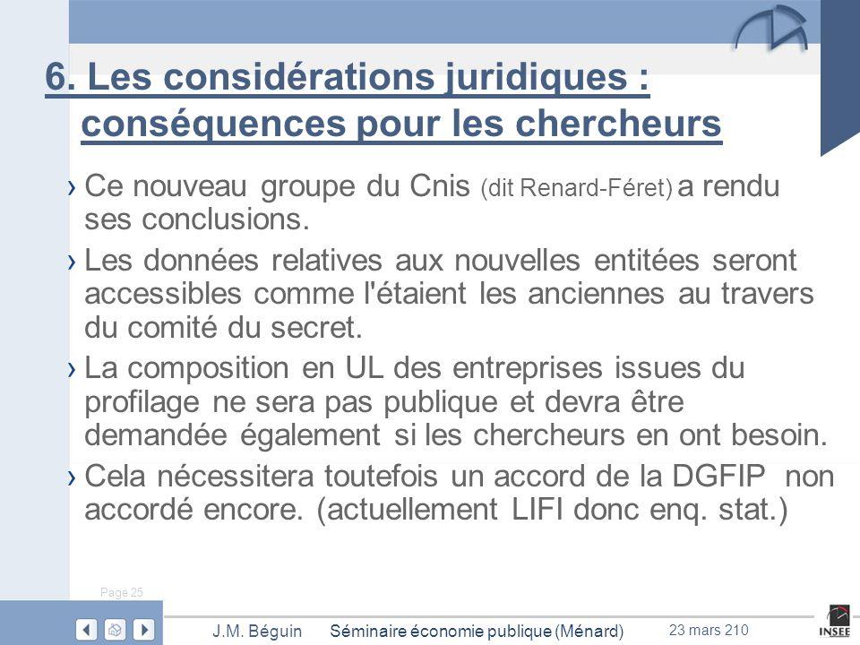 Page 25 Séminaire économie publique (Ménard)J.M. Béguin 23 mars 210 6.