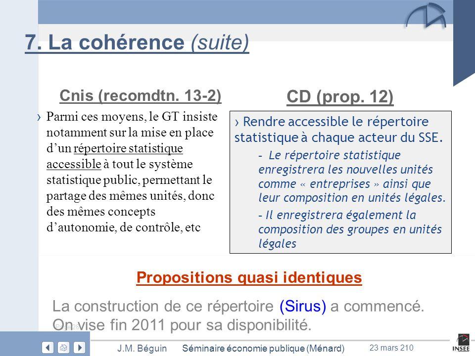 Page 26 Séminaire économie publique (Ménard)J.M. Béguin 23 mars 210 7.