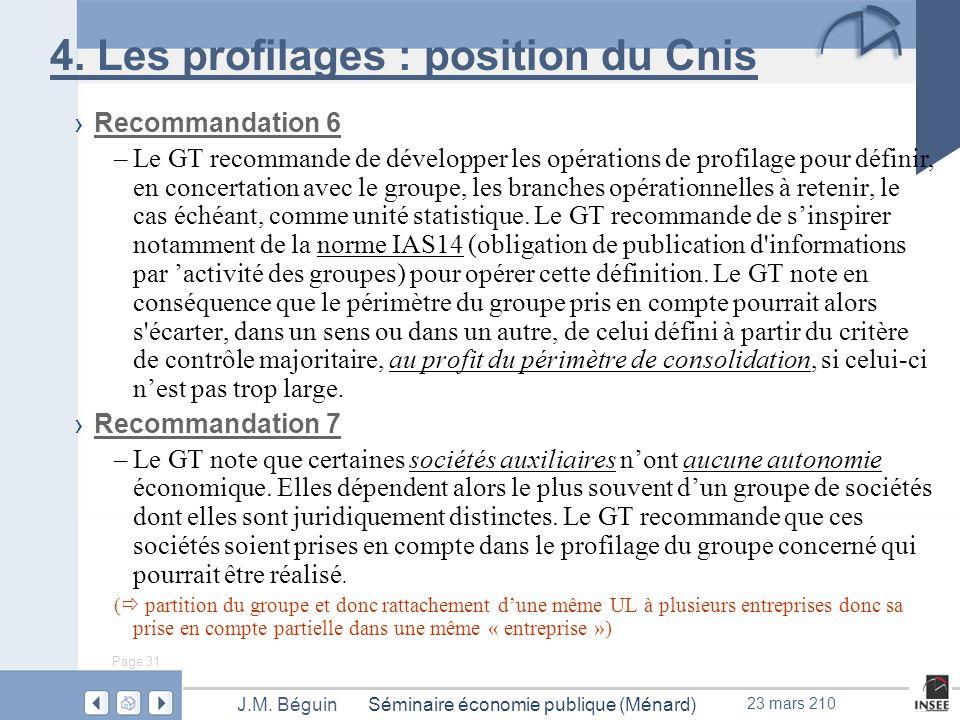 Page 31 Séminaire économie publique (Ménard)J.M. Béguin 23 mars 210 4.