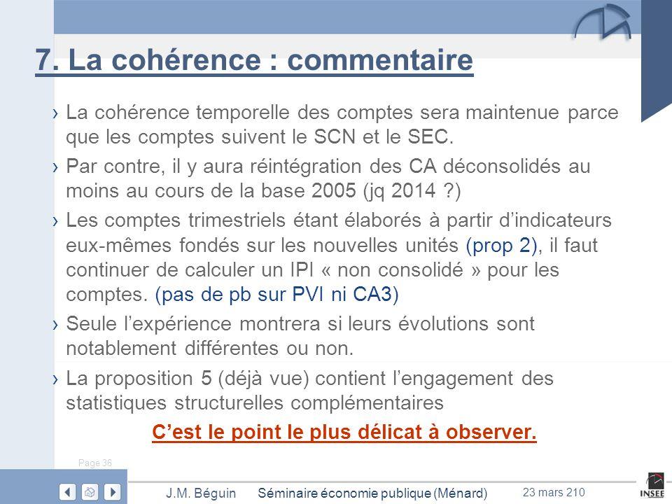 Page 36 Séminaire économie publique (Ménard)J.M. Béguin 23 mars 210 7.