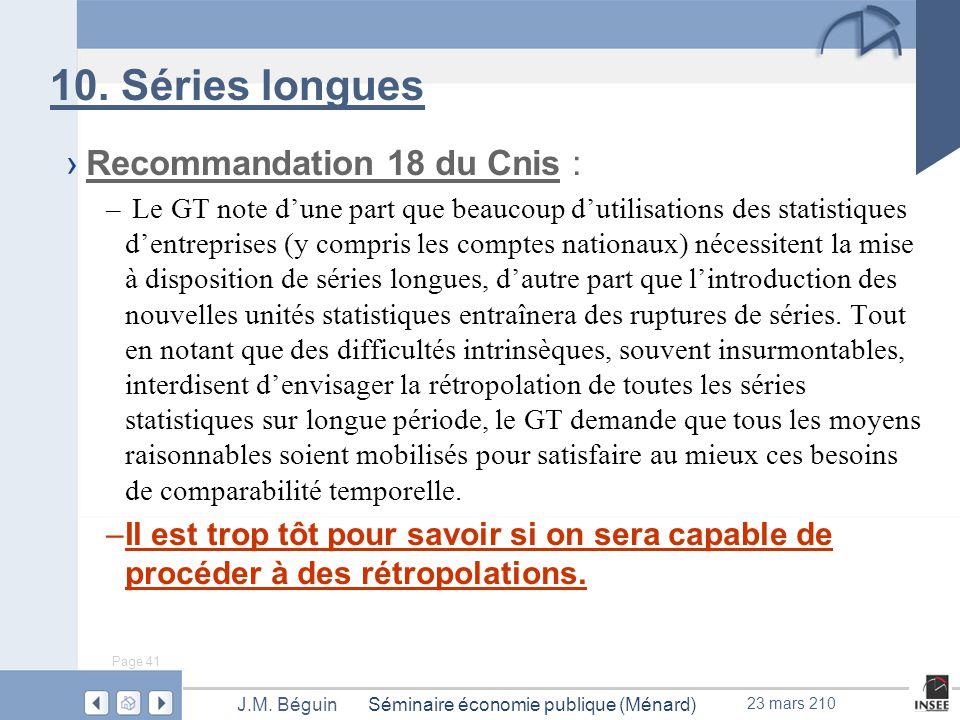 Page 41 Séminaire économie publique (Ménard)J.M. Béguin 23 mars 210 10.