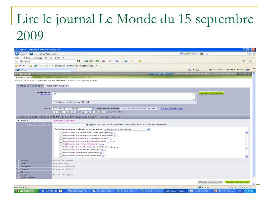 Lire le journal Le Monde du 15 septembre 2009
