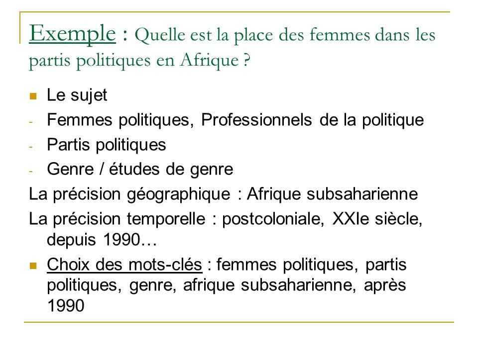 Exemple : Quelle est la place des femmes dans les partis politiques en Afrique ? Le sujet - Femmes politiques, Professionnels de la politique - Partis