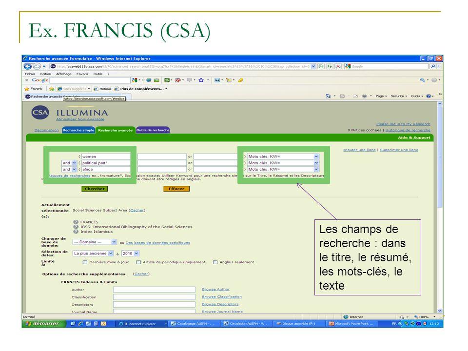 Ex. FRANCIS (CSA) Les champs de recherche : dans le titre, le résumé, les mots-clés, le texte