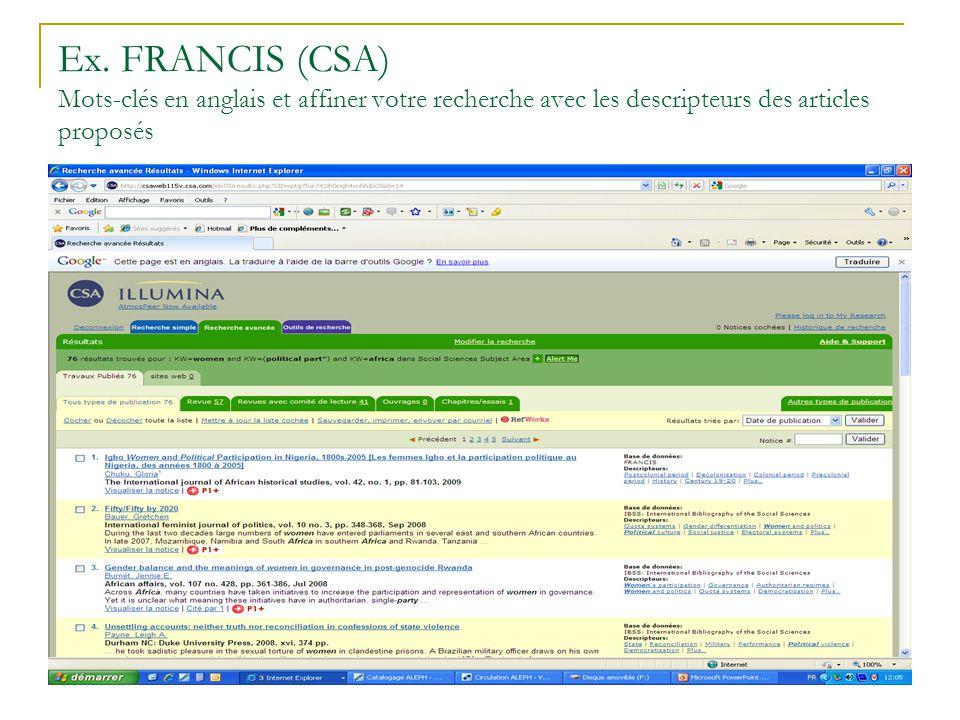 Ex. FRANCIS (CSA) Mots-clés en anglais et affiner votre recherche avec les descripteurs des articles proposés