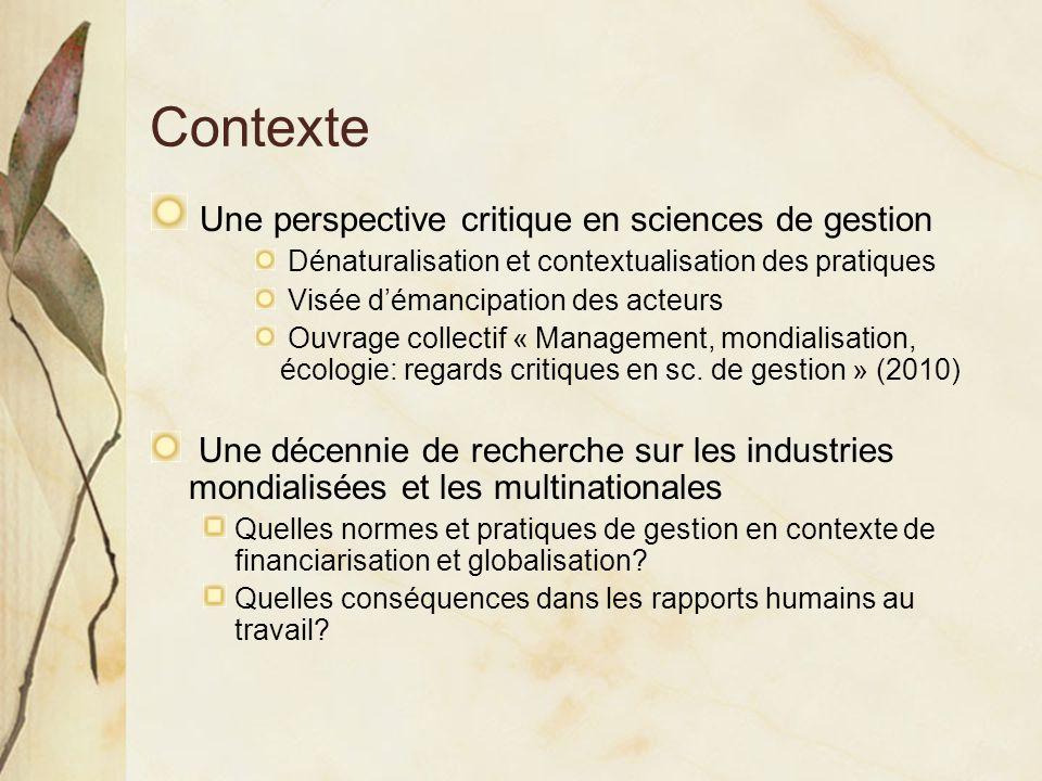 Contexte Une perspective critique en sciences de gestion Dénaturalisation et contextualisation des pratiques Visée démancipation des acteurs Ouvrage c
