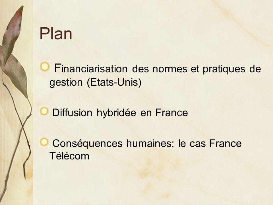 Plan F inanciarisation des normes et pratiques de gestion (Etats-Unis) Diffusion hybridée en France Conséquences humaines: le cas France Télécom