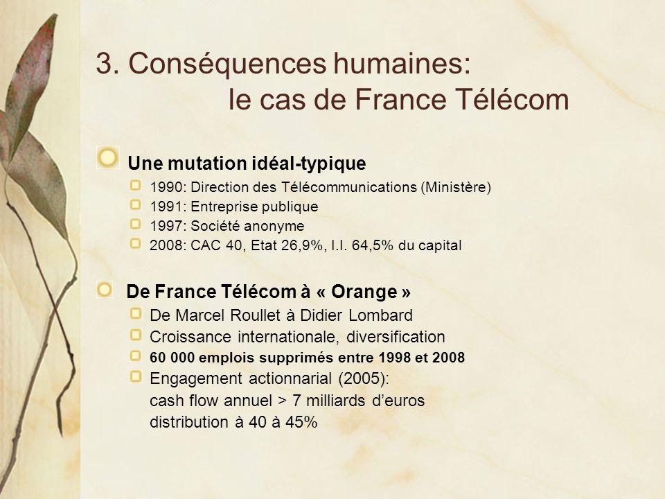 3. Conséquences humaines: le cas de France Télécom Une mutation idéal-typique 1990: Direction des Télécommunications (Ministère) 1991: Entreprise publ