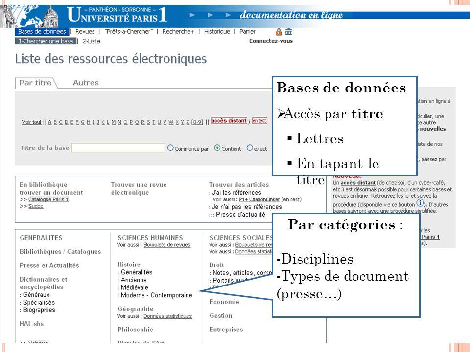 Bases de données Accès par titre Lettres En tapant le titre Par catégories : -Disciplines -Types de document (presse…)