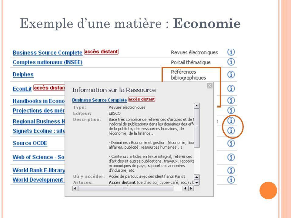 Exemple dune matière : Economie