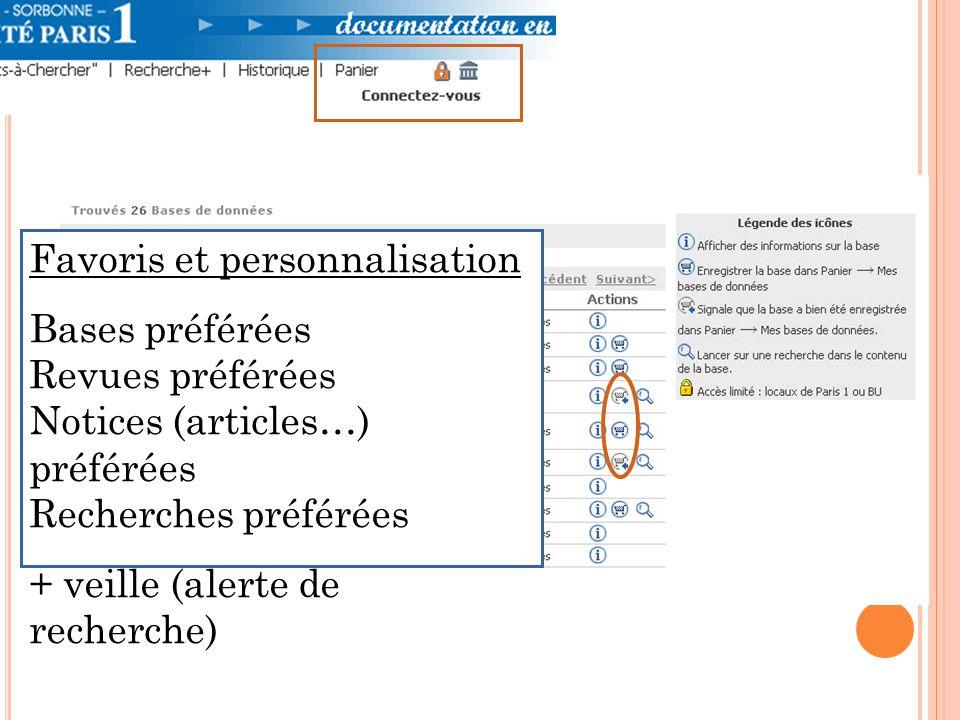 Favoris et personnalisation Bases préférées Revues préférées Notices (articles…) préférées Recherches préférées + veille (alerte de recherche)