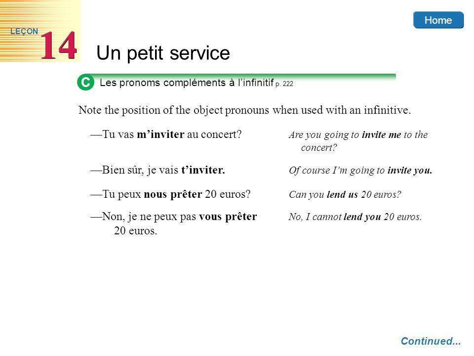 Home Un petit service 14 LEÇON C Les pronoms compléments à linfinitif p. 222 Continued... Note the position of the object pronouns when used with an i