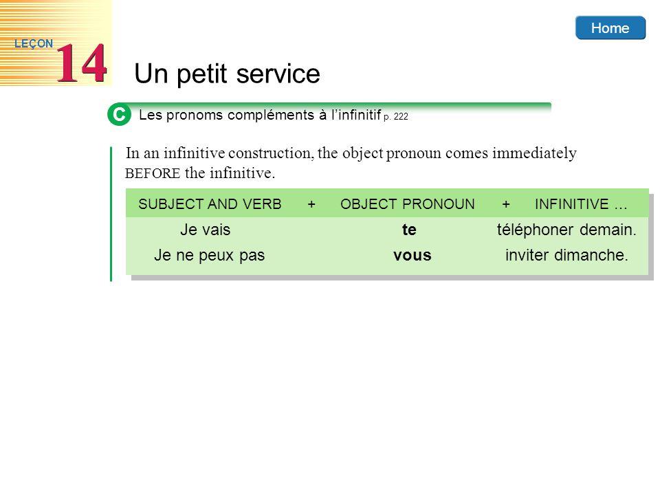 Home Un petit service 14 LEÇON C Les pronoms compléments à linfinitif p. 222 In an infinitive construction, the object pronoun comes immediately BEFOR