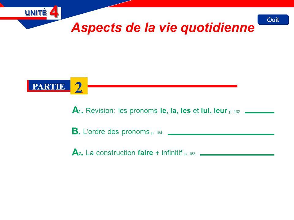 Quit Aspects de la vie quotidienne A 1. Révision: les pronoms le, la, les et lui, leur p. 162 UNITÉ 4 4 B. Lordre des pronoms p. 164 A 2. La construct